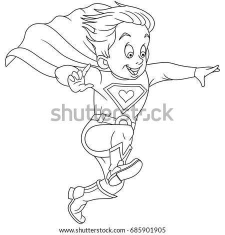 Coloring Page Cartoon Superhero Coloring Book Stock Vector (Royalty ...