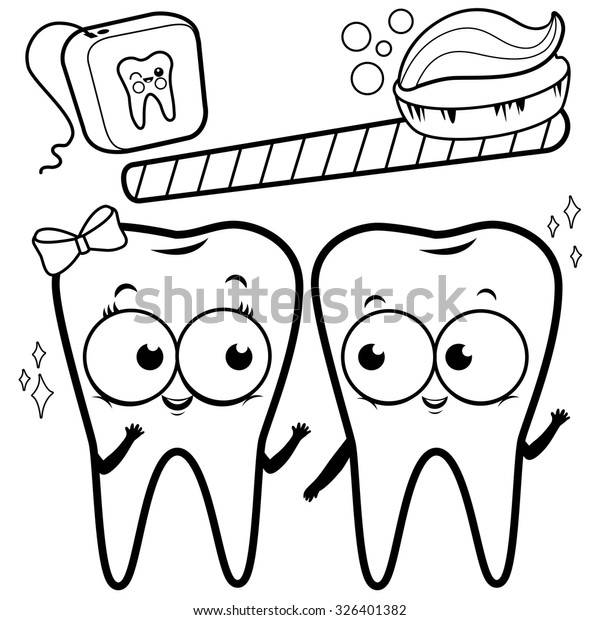 Coloring Page Cartoon Teeth Toothbrush Dental Stock Vector Royalty Rhshutterstock: Cartoon Tooth Coloring Pages At Baymontmadison.com