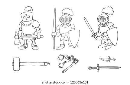 Coloring page of cartoon three medieval knights prepering to Knight Tournament. Coloring book design for kids and children. Ink and pen isolated on white background