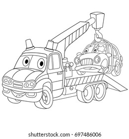coloring page cartoon tow truck 260nw