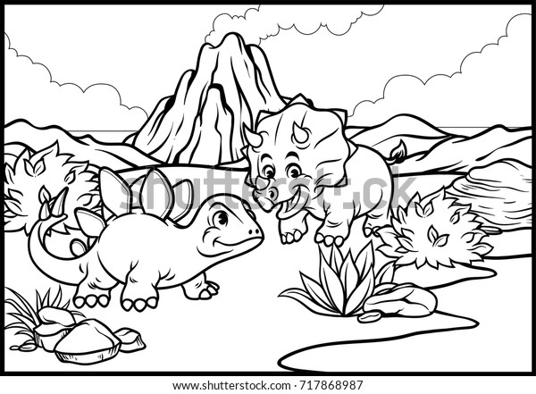 - Coloring Page Cartoon Triceratops Stegosaurus Stock Vector (Royalty Free)  717868987