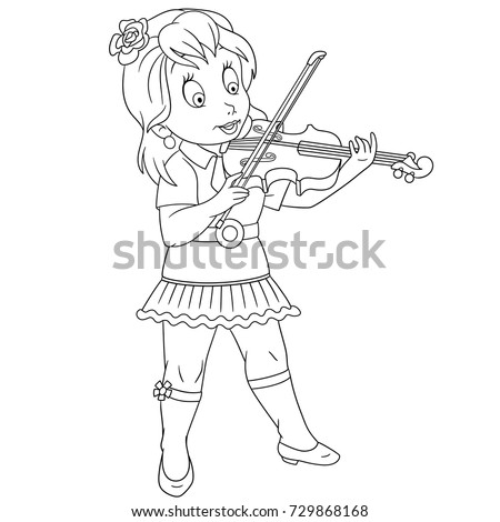 Coloring Page Cartoon Violinist Girl Playing Stock Vektorgrafik