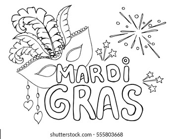 Coloring page Celebrate Carnival Mardi Gras or Shrove Tuesday. Black and white vector illustration.