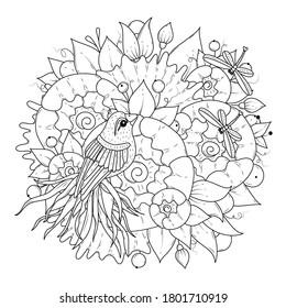Página de colorear para niños y adultos. Un hermoso pájaro con una larga cola se sienta sobre las flores y dos libélulas vuelan lado a lado. Ilustración vectorial. Fondo blanco-negro.