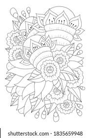 Página de colorear para niños y adultos. Ilustración vectorial con flores abstractas. Fondo blanco-negro para colorear, imprimir en tela o papel.