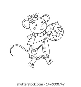 simple christmas coloring pages images stock photos vectors shutterstock https www shutterstock com image vector coloring page children cute christmas mouse 1476000749