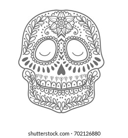 Coloring page for children. Day of The Dead colorful sugar skull with doodle ornament and flower seamless pattern.