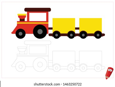 coloring page for children with examples. Educational game for children. red cartoon train