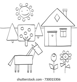 coloring page for children to find geometric shapes in nature. house, trees, sun, horse and flowers. vector illustration