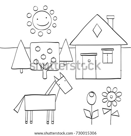Coloring Page Children Find Geometric Shapes Stock Vector Royalty