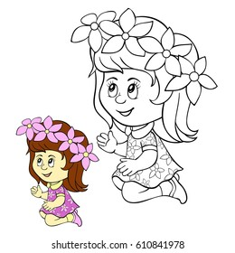 Coloring page for children,a little girl.Cartoon style illustration.