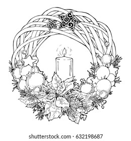 coloring page with christmas wreath