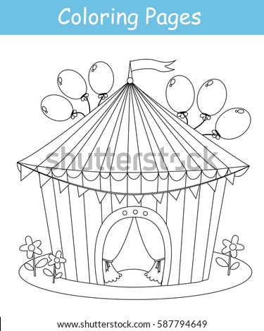 Coloring Page Circus Tent Vector Stock Vector Royalty Free