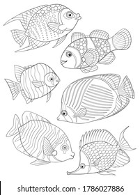 Coloring Page with collection of tropical fishes. Antistress adult coloring.