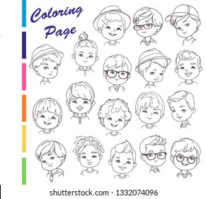 Coloring page. Collection of young boys portraits with different hairstyles Outline sketch, pencil strokes. man haircut set.Nice boys, teenagers. Children models.Monochrome vector illustration.