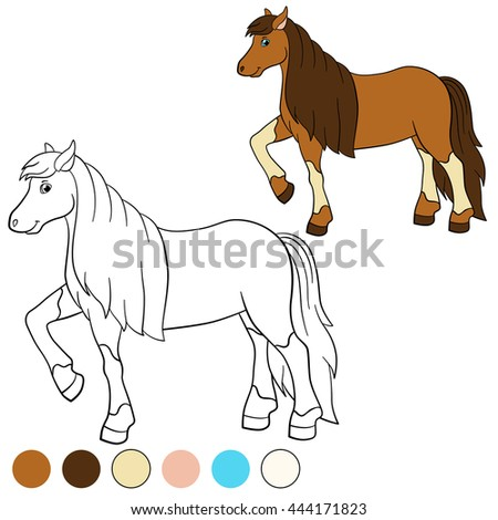 Coloring Page Color Me Horse Cute Stock Vector Royalty Free