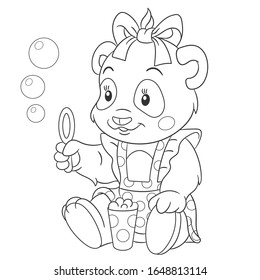 Coloring page. Colouring picture with girlish panda bear. Cartoon outlined design for nursery poster, t shirt print, kids apparel, greeting card with cute animals.