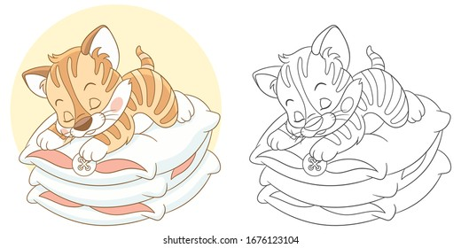 Coloring page. Colouring picture with kitten. Cartoon animal clipart set for nursery poster, t shirt print, kids apparel, greeting card, wallpaper or banner.