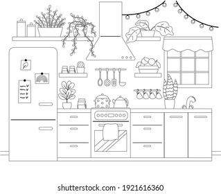 Kitchen Coloring Pages Images Stock Photos Vectors Shutterstock