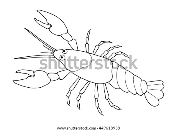 Coloring Page Crayfish Stock Vector (Royalty Free) 449618938