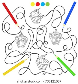 Coloring page with cupcake drawing game for children