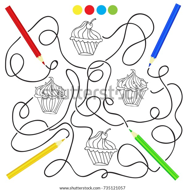 Coloring Page Cupcake Drawing Game Children Stock Vector ...