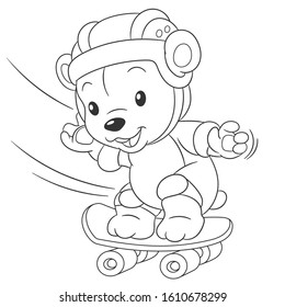Coloring page with cute baby bear. Cartoon outlined design for nursery poster, t shirt print, kids apparel, greeting card, activity colouring book about animals.