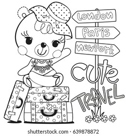 coloring page cute cartoon teddy 260nw