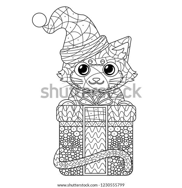 Coloring Page Cute Cat Santa Hat Stock Vector (Royalty Free ...
