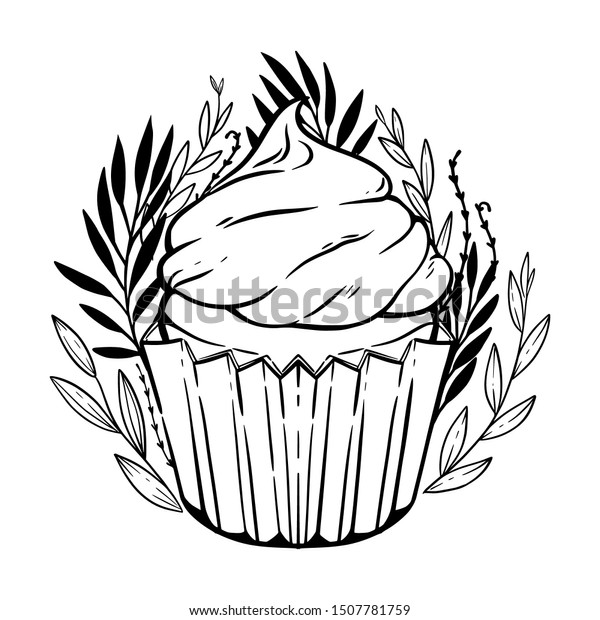 Coloring Page Cute Cupcake Blueberry Leaves Stock Vector Royalty