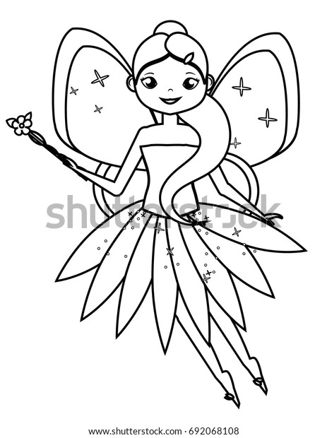 Coloring Page Cute Flying Fairy Holding Stock Vector (Royalty Free ...