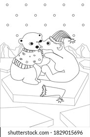 Coloring page with cute polar bear cubs with Christmas hats, knitted sweater in A4 size for coloring for adults. Outline colorless vector stock illustration printable for coloring book