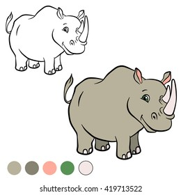 Coloring page. Cute rhinoceros stands and smiles.