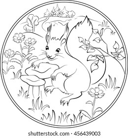 Coloring Page With Cute Squirrel Cartoon Book