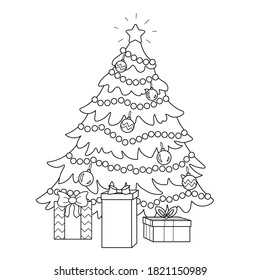 Coloring page of a decorated Christmas tree with gifts. Vector black and white illustration on white background.