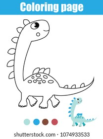 Coloring page with dinosaur. Drawing kids activity. Printable worksheet for toddlers