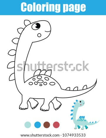 Coloring Page Dinosaur Drawing Kids Activity Stock Vector Royalty