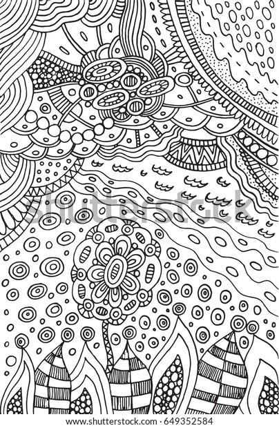 Coloring Page Doodle Flower Landscape Plants Stock Vektorgrafik
