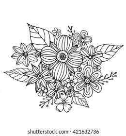 Coloring page with doodle flowers vector