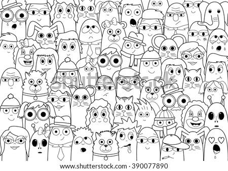Kleurplaat Verjaardag Pake Coloring Page Doodle People Crowd Stock Vektorgrafik