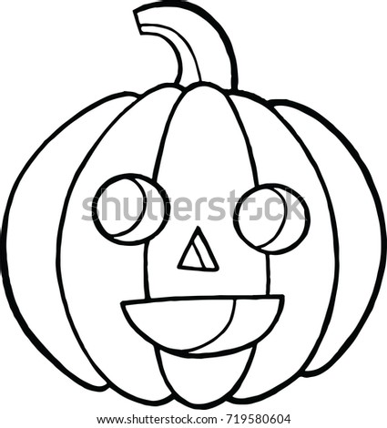 Coloring Page And Doodle Sketch With Pumpkin For Halloween Autumn Cartoon Vegetable Face