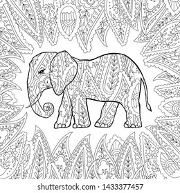 Coloring page with doodle style elephant in zentangle inspired style. Coloring book for adult and older children. Editable vector illustration.