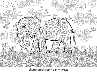 Coloring page with doodle style elephant on the meadow in zentangle inspired style. Coloring book for adult and older children. Editable vector illustration.
