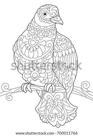 Coloring Page Dove Pigeon Bird Sitting Stock Vector Royalty Free
