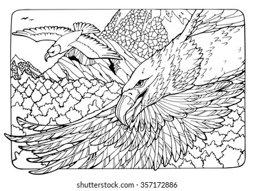 coloring page with eagles and mountains