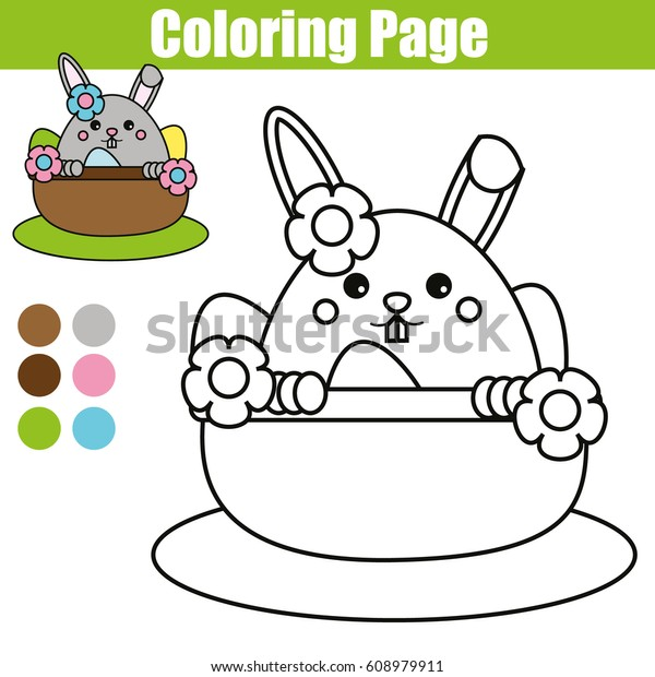 Coloring Page Easter Bunny Character Printable Stock Vector Royalty Free 608979911