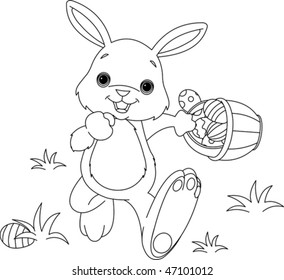 coloring page easter bunny hiding 260nw