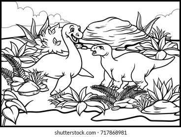 coloring page of elasmosaurus and iguanodon