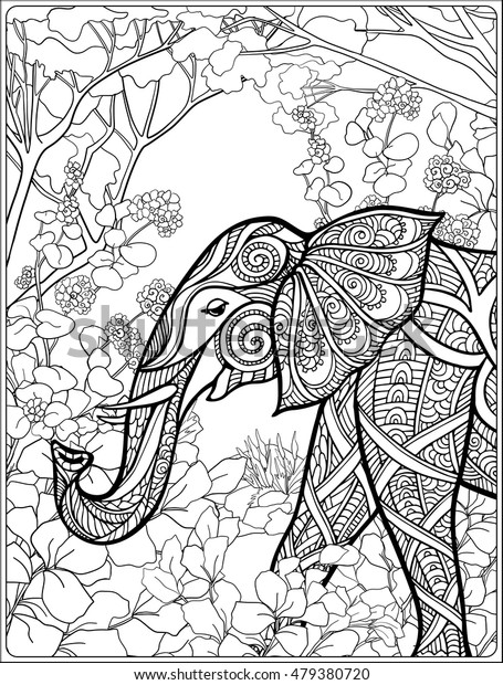 Coloring Page Elephant Forest Coloring Book Stock Vector (Royalty Free)  479380720