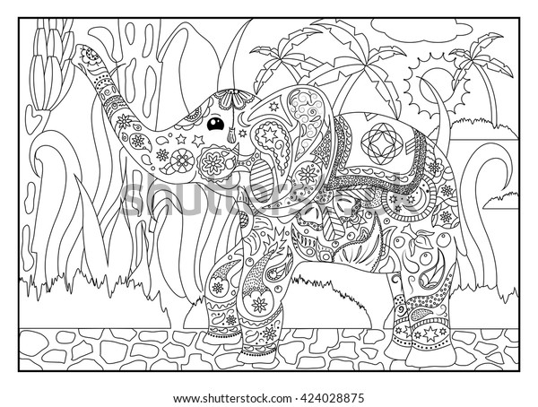 Coloring Page Elephant Jungle Adult Coloring Stock Vector (Royalty Free)  424028875